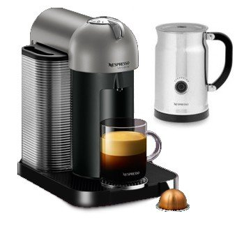 Nespresso VertuoLine Coffee & Espresso Machine - with Aeroccino+ Frother (Titanium)