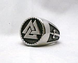 The Vikings Valknut Ring Warriors Knot Nordic God Odin Knot of the Fallen Ring Sz 11