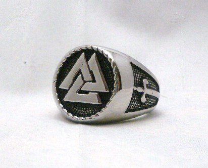 The Vikings Valknut Ring Warriors Knot Nordic God Odin Knot of the Fallen Ring Sz 12 (Stand Triangle Pewter)