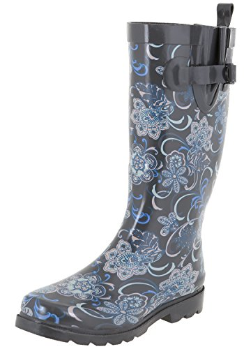 Capelli New York Ladies Gypsy Bloom Printed Rain Boots Grey Combo 7