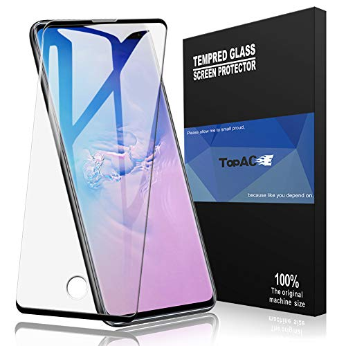 TopACE for Samsung Galaxy S10 Plus Screen Protector, Tempered Glass[Compatible with in-Display Fingerprint Sensor][Touch Sensitive][Case Friendly] Compatible for Samsung Galaxy S10 Plus (Black)