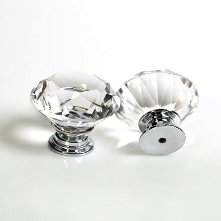 Genial Revesun 6PCS/LOT Diameter 30mm Clear Crystal Glass Diamond Shaped Door Knobs  Cabinet Pulls Cupboard