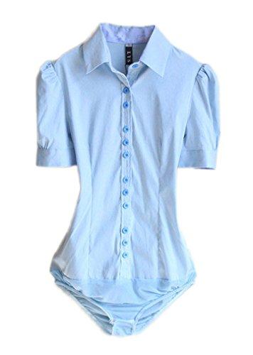 Style Blue Shirt Down 2 Sleeve Women s Soojun Button Bodysuit Short Blouse Career 6v7Tnqw