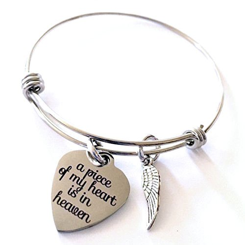 Piece of My Heart is in Heaven Expandable Bangle Bracelet ()
