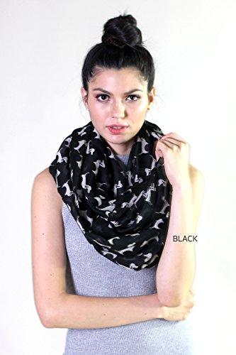 Anika Dali Women's Bella Dachshund Doggie Infinity Circle Scarf (Black / Off White)