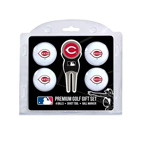 Team Golf MLB Cincinnati Reds Regulation Size Golf Balls (4 Count) & Divot Tool with Removable Double-Sided Magnetic Marker