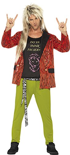 Smiffy's Men's 80's Rock Star Costume, Jacket, pants and Vest, Back to the 80's, Serious Fun, Size L, (80's Rock Costumes Men)
