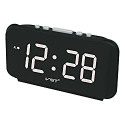 Zehui Alarm Clocks Big Numbers Digital Alarm Clocks EU Plug AC power Electronic Table Clocks with Large LED Display White