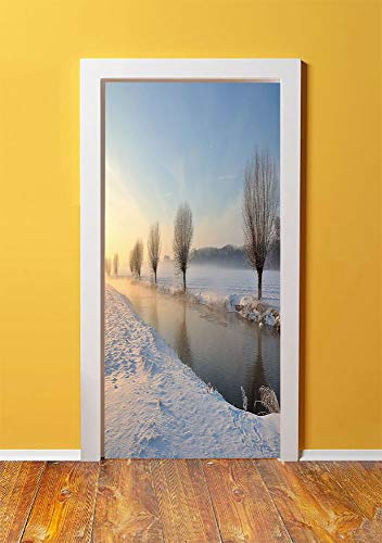 Winter 3D Door Sticker Wall Decals Mural Wallpaper,Snowy River Landscape Barren and Frosted Trees Dutch Netherlands Europe Photograph Decorative,DIY Art Home Decor Poster Decoration 30.3x78.6352,