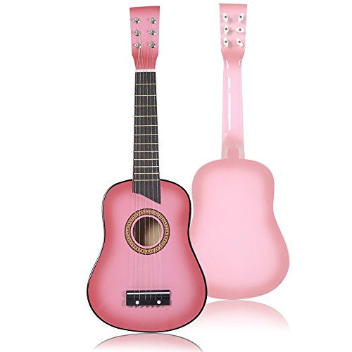 25'' Beginners Kids Acoustic Guitar 6 String with Pick Children Kids Gift (Pink) by Pink Guitar