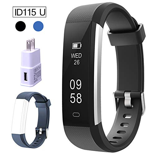 Fitness Tracker for Kids, Women, Men, Smart Activity Tracker Pedometer Watch Sport Wristband Waterproof with Step Counter Sleep Monitor Calorie + USB Wall Charger + ID115 U Replacement Band, ()