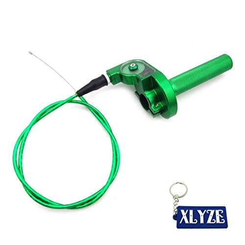 XLYZE Green 1/4 Turn CNC Aluminum Twist Throttle Cable Assembly For Kawasaki KX125 KX250 KX110 KX140 Dirt Pit Bike Motocross