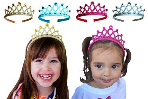 - Witty Pretty Princess Tiara Crown Rhinestone Glitter Sparkle Non slip Headband Dress up Set (4-pack) Gold Silver Blue Pink