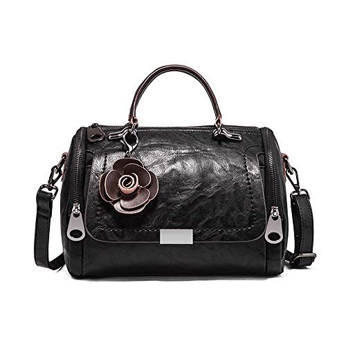 (Mn&Sue Boston Style Handbags for Women Small Top Handle Satchel Crossbody Mini Barrel Purse (Black))