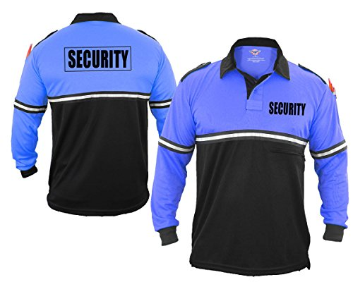 First Class Security 100% Polyester Two Tone Bike Patrol Shirt w/Zipper Pocket - Long Sleeve (1X-Large, Royal Blue and Black) (Tone Zipper Two)