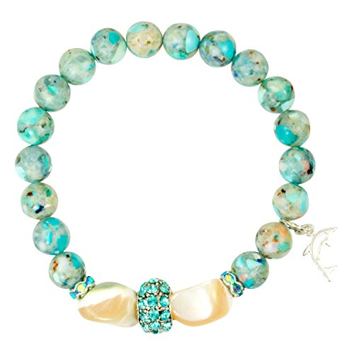 Aqua Impression Jasper and Shell Nuggets with Aqua Silver Plated CZ Spacer Bead - Stretch Bracelet (Nugget Shell Beads)
