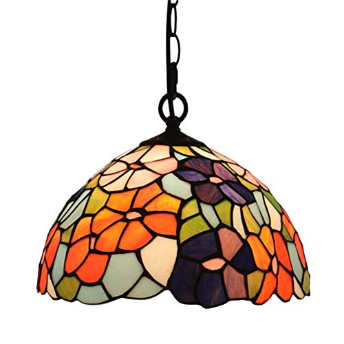 Vintage Tiffany Style Chandelier E26, Stained Glass Shade Pendant Light Iron Chain Design Kitchen Restaurant-c 30x100cm