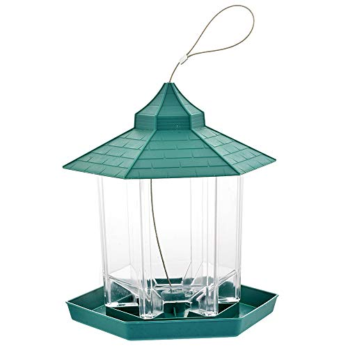 Urijk Green Hanging Gazebo Bird Feeder, Handles Up to 2.25 Lbs, Waterproof Transparent Hexagon Shape Hanging Bird Seed Feeder Outdoor Feeding for Garden Decoration and Bird Watching