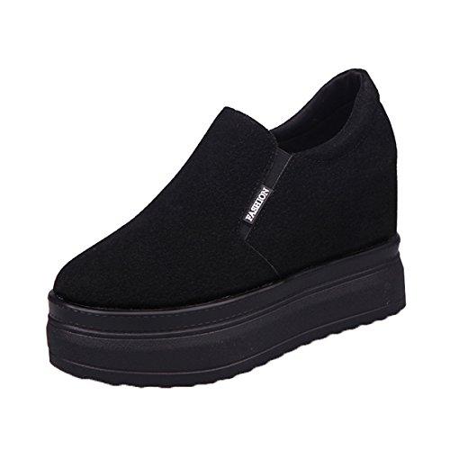 Dear Time Suede Platform Creeper Women Slip On Wedges Sneakers With Heels Inside Black US (Heel Platform Creeper Shoe)