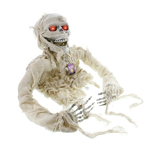 Halloween Haunters Animated Skeleton Mummy Groundbreaker Graveyard Prop Decoration - Shrieks, Speaks, LED Eyes - Battery Operated
