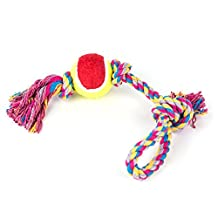 Dog Rope Toy,5ivepets Launcher Rubber Ball Toy for Chew,Fetch and Tug Rope for Medium to Large Dogs Indestructible Ball & Rope for Chewers (Random color)