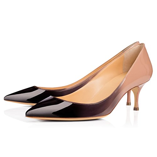 onlymaker Womens Classic Pointed Toe Mid Heel Large Size Dress Party Pumps Shoes Nude to Black lfSL6xCu0