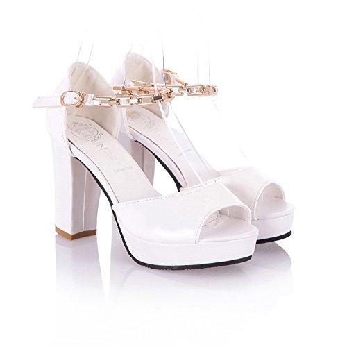 Amoonyfashion Donna Open Peep Toe Tacco Alto Piattaforma Pu Pu Sandali Solido Con Metalornament Bianco
