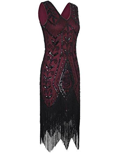 Art Inspirado Con Deco Vestido Lentejuela 1920s coctail Borgoña de Charleston Mujeres PrettyGuide Flecos wxYtaw