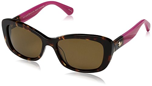 Kate Spade Women's Claretta/p/s Polarized Rectangular Sunglasses, HAVANA PINK, 53 ()