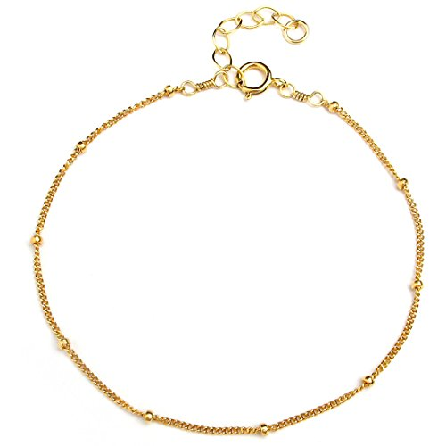 Chain Red Gold Bracelet (Gold Chain Bracelet for Women Girls, 14K Gold Filled, Adjustable, Gifts for Mom Friend Sister, Made in USA, 6.5