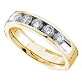 FB Jewels 14kt Yellow Gold Womens Round Channel-set Diamond Single Row Wedding Band 1/2 (I1-I2 clarity; H-I color)