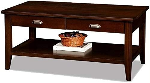 BOWERY HILL Two Drawer Solid Wood Coffee Table in Chocolate Cherry