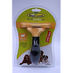 Royal Crown Pet DeShedding Tool (Large Dog, Yellow) Best for Removing Unwanted Pet Fur Before Cats and Dogs Shed
