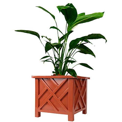 Chippendale Planter Box, Brown - Plant Holder for Garden, Patio and Lawn - 14 ¾