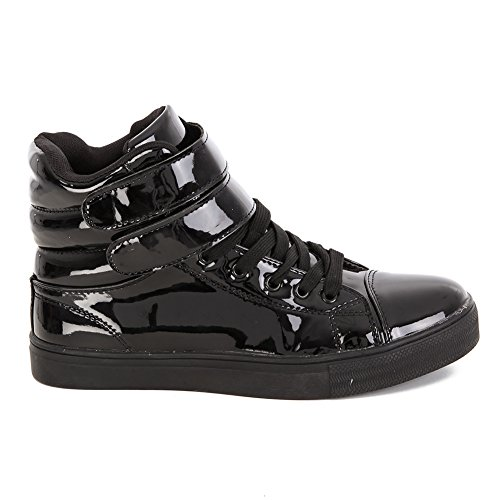 Alexandra Collection Kids Youth Liquid Shiny High Top Hip Hop Dance Sneakers - Pink Or Black Black 4
