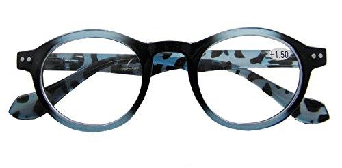Circleperson Reading glasses Reader vintage round geek style spring hinges (Blue tortoise, - Geek Glasses Round