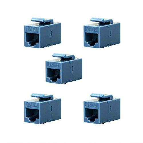 BATIGE 5-Pack CAT6 RJ45 Keystone Jack Female Coupler Insert Snap-in Connector Socket Adapter Port for Wall Plate Outlet Panel (Blue)