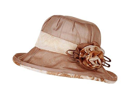 Century Star Vintage Boonie Hat Wide Brim Beach Protective Sunhats Cute Headwear with Flower (Vintage Khaki Fatigue Cap)