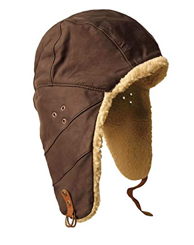 (Kakadu Original- Flying Doctor Hat- Pilot Aviator Hat with Wool Sherpa Lining Trapper Hunting Cap Brown)