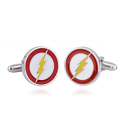 Zealmer Flash Cuff Links 316L Stainless Steel for Men Business Wedding 1 Pair (Spiderman Button Shirt)