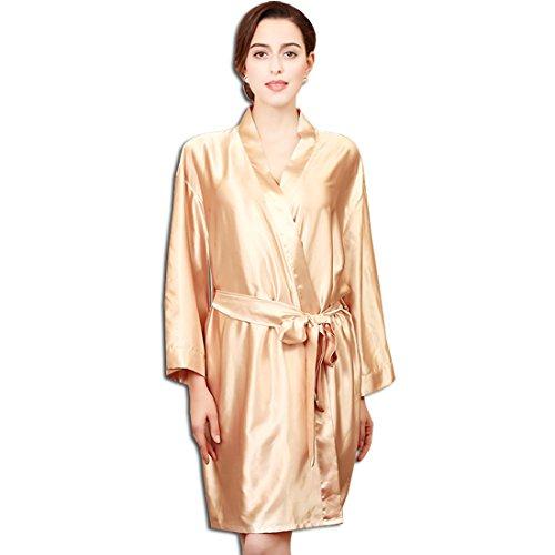 KAXIDY Donna Vestaglie scollo a V Kimono da notte in raso Kimono Kimono Accappatoio Champagne