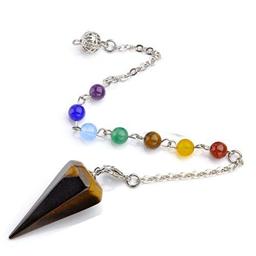 Top Plaza 7 Chakra Reiki Healing Crystal Dowsing Point Pendant Divination Metaphysical Spiritual Chakra Balancing Pendulum(Yellow Tiger Eye)