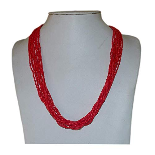 Beautiful Red Seed Beads Strand Necklace. Handmade in ()