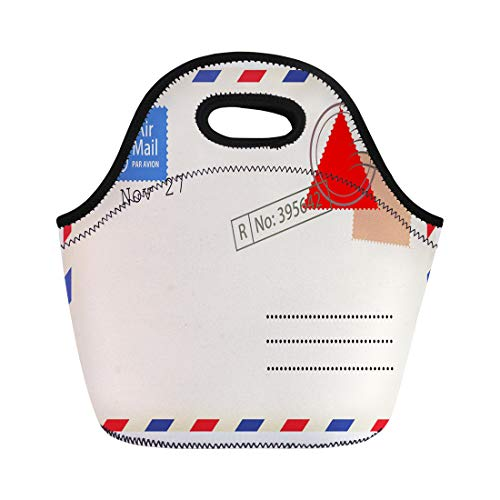 Semtomn Lunch Tote Bag Old Airmail Back Border Post Send Stamp Blank Reusable Neoprene Insulated Thermal Outdoor Picnic Lunchbox for Men Women -