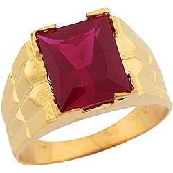 14k Gold Simulated Ruby July Birthstone Unique Designer Mens Ring