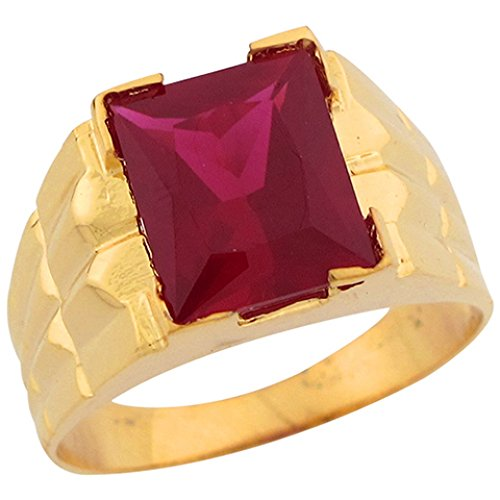 14k Gold Simulated Ruby July Birthstone Unique Designer Mens Ring (Designer Gold Red Ring)