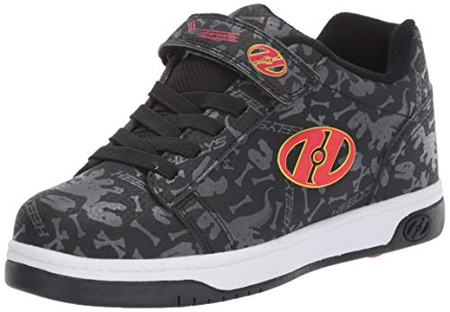 Heelys Boys' Dual Up X2 Tennis Shoe, Black/Grey/RED/Dino, 12c M US Little Kid