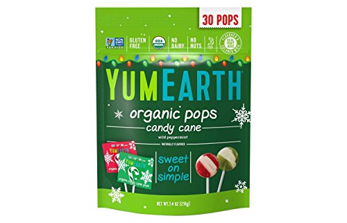 YumEarth Holiday Candy Cane Lollipops, 5 Ounce