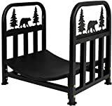 INNO STAGE Wrought Iron Log Rack, Firewood Storage Holder, Heavy Duty Log Bin, Fireside Log Carrier for Fireplace Stove Accessories