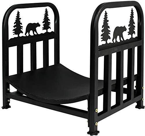 INNO STAGE Wrought Iron Log Rack, Firewood Storage Holder, Heavy Duty Log Bin, Fireside Log Carrier for Fireplace Stove -